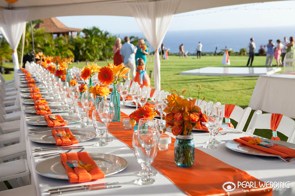 Paradise Lawn beautiful orange and white reception.