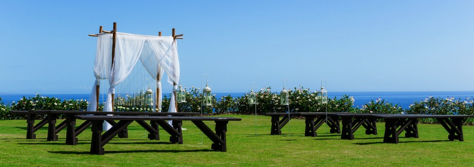 Maui Wedding Ceremony rustic with benches