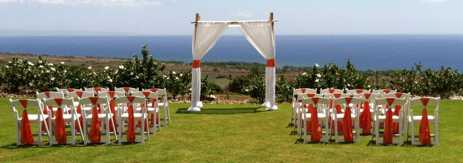 Maui Wedding Ceremony orange and white